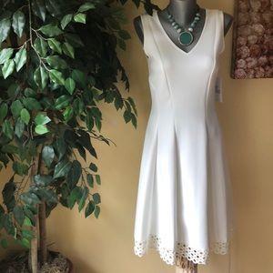 NWT Donna Ricco white scuba dress